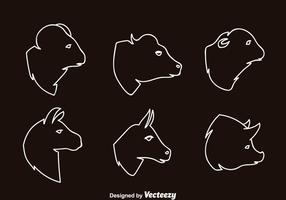Zoogdieren Head Outline Icons vector