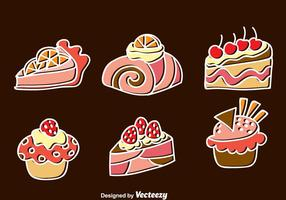 Sweet Cake Icons Set vector