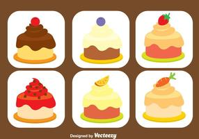 Süßes Shortcake Icons Set