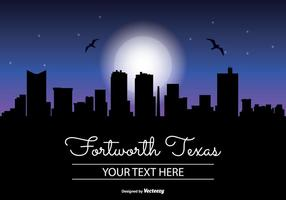 Fort Worth texan night skyline