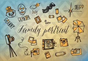 Free Famlity Portrait Vector Background with Hand Drawn Elements