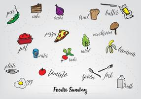 Free Hand Drawn Food Collection Vector Bakgrund