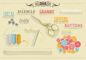 Free Set of Sewing Equipment Vector Background