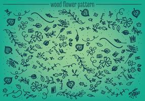 Fundo de vetor de padrão de flor de madeira livre
