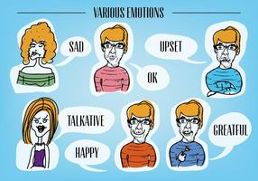 Various Emotion Faces Vector Background