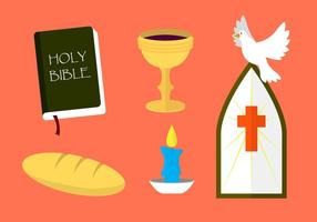 Verzameling van Religieuze Communion Symbolen in Vector