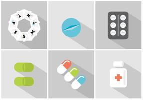 Vector Set of Pill Boxes and Pills