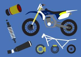 Vector conjunto de elementos de la motocicleta