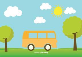 Gullig Minibussillustration