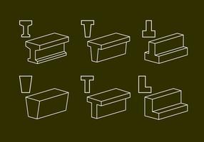 Ilustraciones vectoriales de vigas de acero