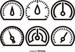 Tachometer linear icons vector