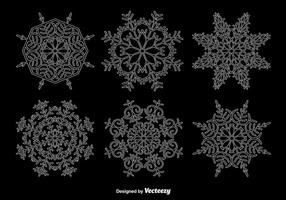 White outline snowflakes vector