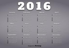 Kalender van het jaar 2016