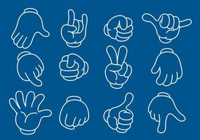 Cartoon Line Hands vector