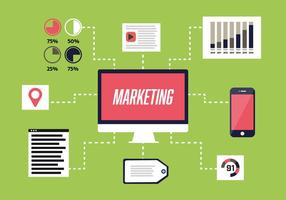 Fundo de vector de marketing digital plano gratuito com computador
