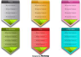 Vectores coloridos de la tabla de precios