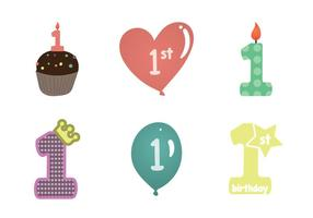 Illustrazione vettoriale di 1 ° compleanno gratis