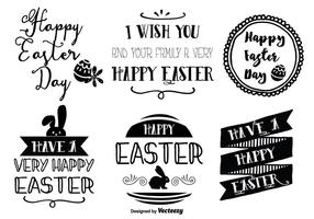 Cute Hand Drawn Style Easter Etiquettes
