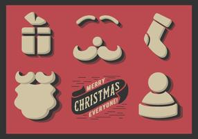 Free Cute Minimal Christmas Elements Vektor