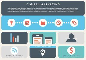 Gratis Flat Digital Marketing Vector Bakgrund