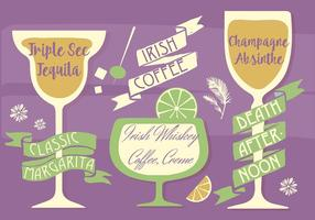 Kostenlose verschiedene Cocktails Vektor Hintergrund