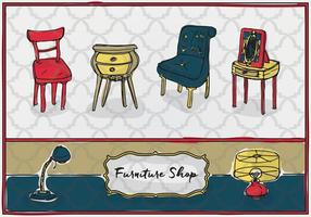 Free Hand Drawn Furniture Vector Background