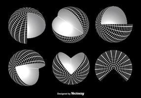 Vecteurs de grille de globe blanc