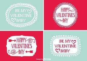 Etiquetas engomadas dibujadas mano lindas del día de tarjeta del día de San Valentín del estilo