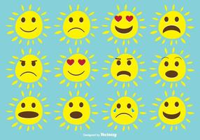 Cute Expressive Sun Set vector