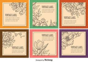 Etiquetas florales del vintage