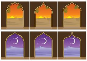 Paisagens árabes e vetores da porta