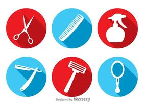 Barber Tools Long Shadow Icons vector