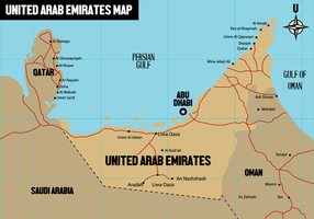 Vector de mapa gratuito dos Emirados Árabes Unidos