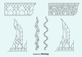 Ícones vetoriais de padrão tailandês grátis