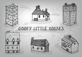 Mano libre dibujado casas Goofy vector de fondo