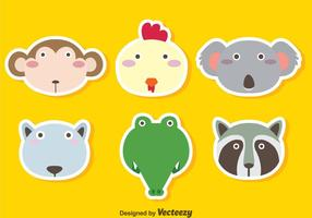 Cute Animals Face Vector Set