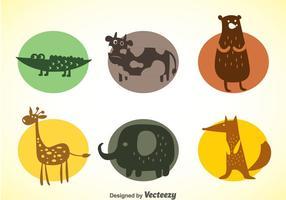 Conjunto de vetores de ícones de cores de animais