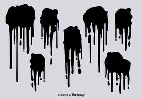 Black spray paint drips vectors