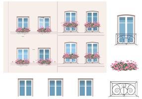 Arkitektur och balkong vektorelement