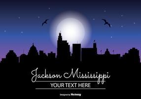 Skyline da noite de Jackson Mississippi