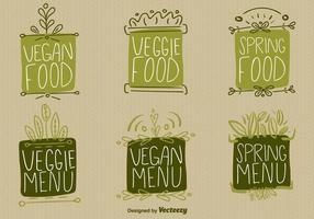 Vetores de signos de alimentos veganos