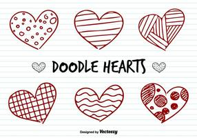 Amor Corazones Doodle Vectores