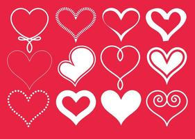 Collection Vector White Hearts