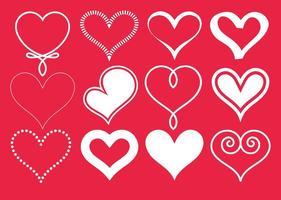 Vektor vit hjärtan samling