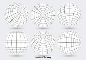 Blanco Globo Grid Vectores
