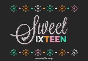 Free Sweet Sixteen Lettering Vector
