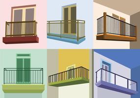 Vecteurs de balcon à vue en perspective