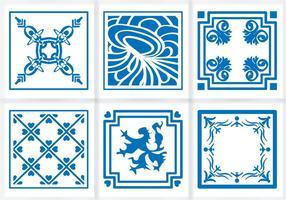 Azulejos azules azules adornos de vectores piso