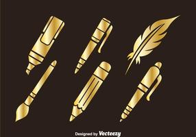 Stationary Golden Icons vector