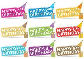 Vetores do título do aniversário